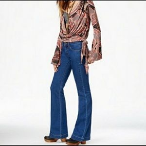 FREE PEOPLE Mid Rise Dallas Super Flare Jeans